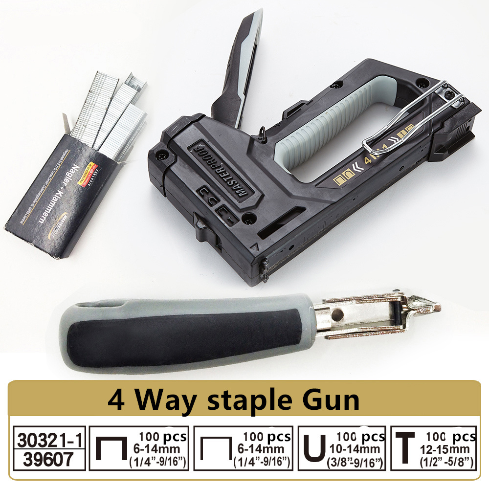 Professional 4 Way Nail Staple Furniture Stapler For Door-type/U Type/straight/bending/canvas Nails