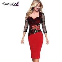 Fantaist Summer Women Dresses Vintage Casual Wedding Party Novelty Sheath Bodycon Floral Print Lace Knee Length
