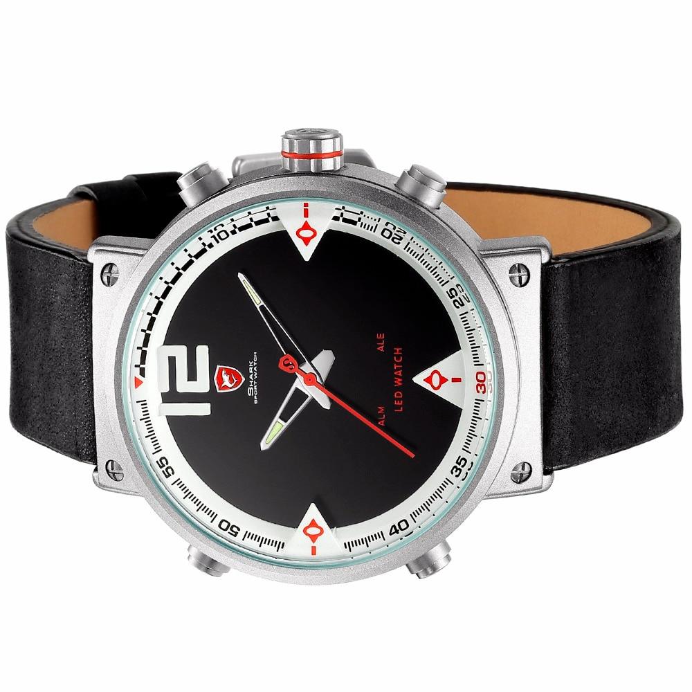 9338393187e4 Reloj deportivo Bluegray Carpet Shark para hombre negro cuarzo Digital LED  fecha alarma relojes de cuero negro reloj Masculino SH549 Descripción  -Por  ...
