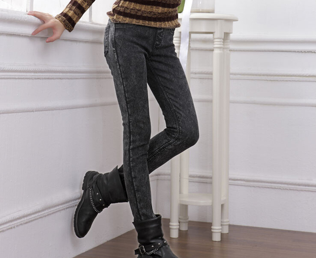 2015 winter elastic warm female skinny jeans pencil pants plus large size women velvet thickening casual denim leggings XXXXXL