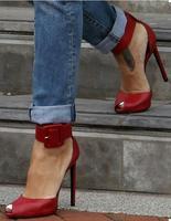 Kırmızı muhtasar yüksek topuk yaz kadın sandalet adı peep toe ayak bileği toka parti elbise ayakkabı kadın boyutu 34 42 ücretsiz gemi