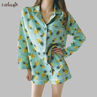 Women's cotton pajamas long sleeve sleep pajama set print turn down collar shorts summer pijamas sets pyjamas femme A636