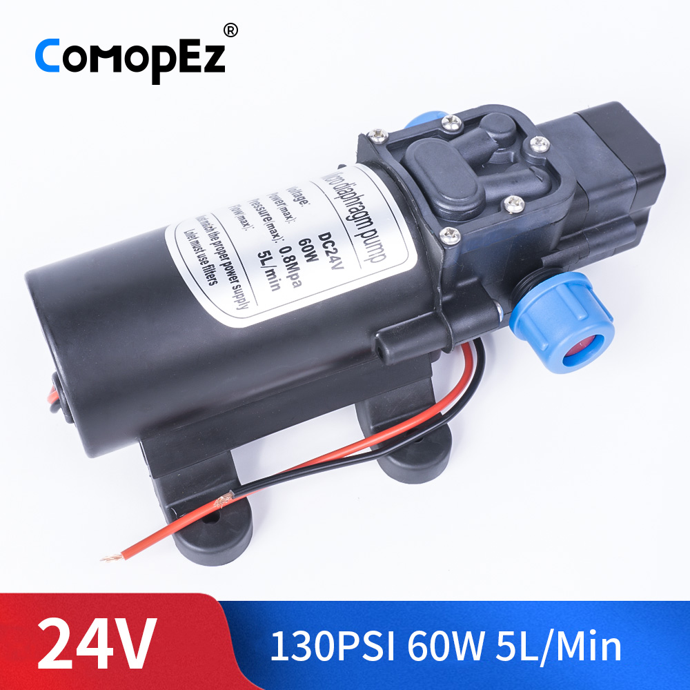 DC 24V 60W 130PSI 5L / Min Agricultural Electric Automatic Switch Water Pump Micro High Pressure Diaphragm Water SprayerDC 24V 60W 130PSI 5L / Min Agricultural Electric Automatic Switch Water Pump Micro High Pressure Diaphragm Water Sprayer