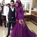 Illusion Beaded Lace Muslim Wedding Dresses Purple Mermaid Muslin Wedding Dress Long Sleeve Muslim Bridal Wedding Gowns WM45