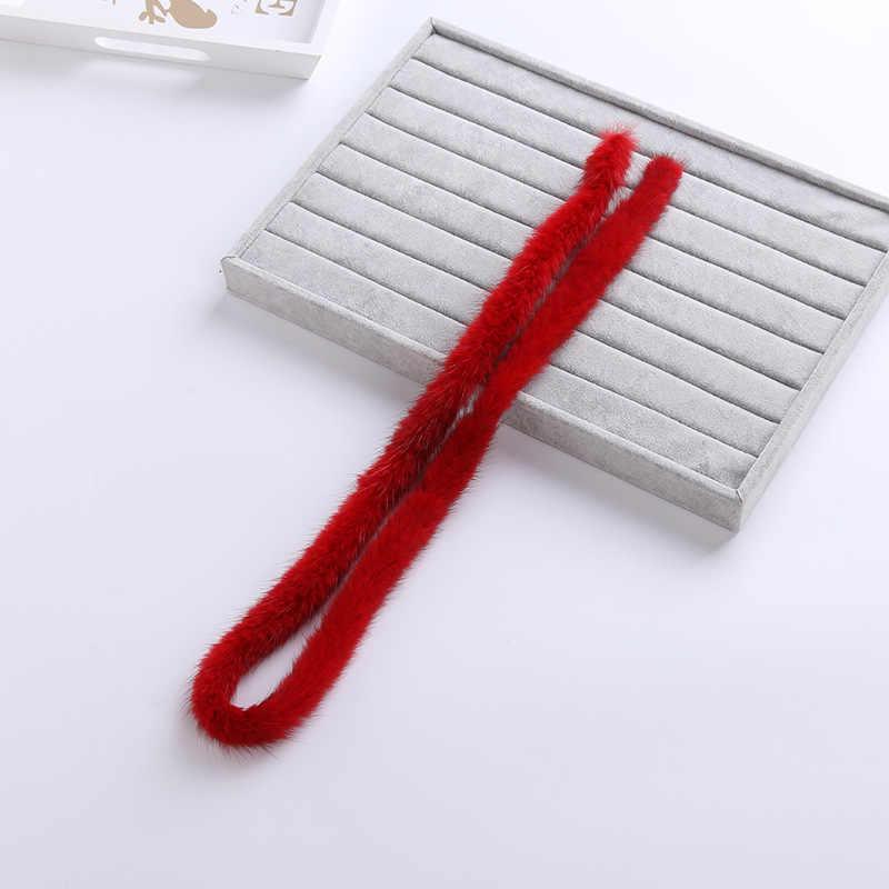 100% véritable fourrure de vison garniture bord vêtements accessoires bricolage matériel chandail vers le bas manteau capuche chapeau chapeau de fourrure col chaussures S012-red