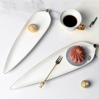 Bamboo Leaf Dinner Plates Dessert Dishes Cake Snack Tray