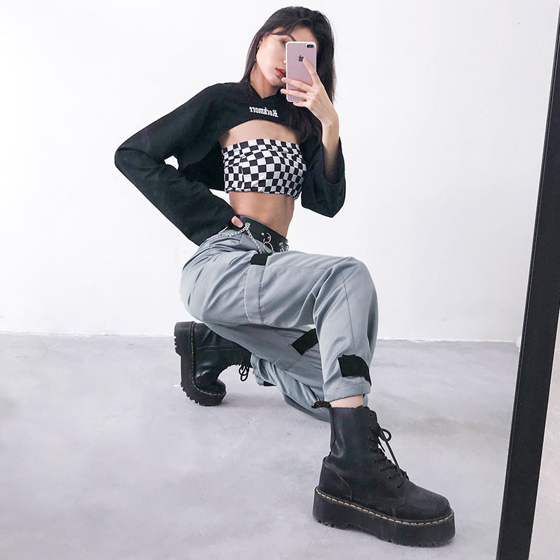 HOUZHOU 2019 Spring Summer New Patchwork Cargo Pants Joggers Women Loose High Waist Sweatpants Streetwear Full Length Punk Rock