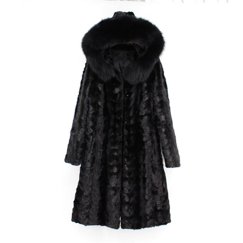 2018 new fashion women 100 genuine natural mink fur coat with hoody long fox fur collar