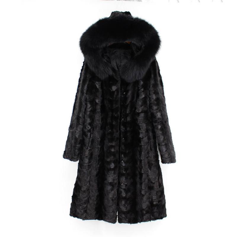 2018 nouvelles femmes de mode 100% véritable vison naturel manteau de fourrure avec capuche longue renard col de fourrure à manches longues noir hiver la russie outwear