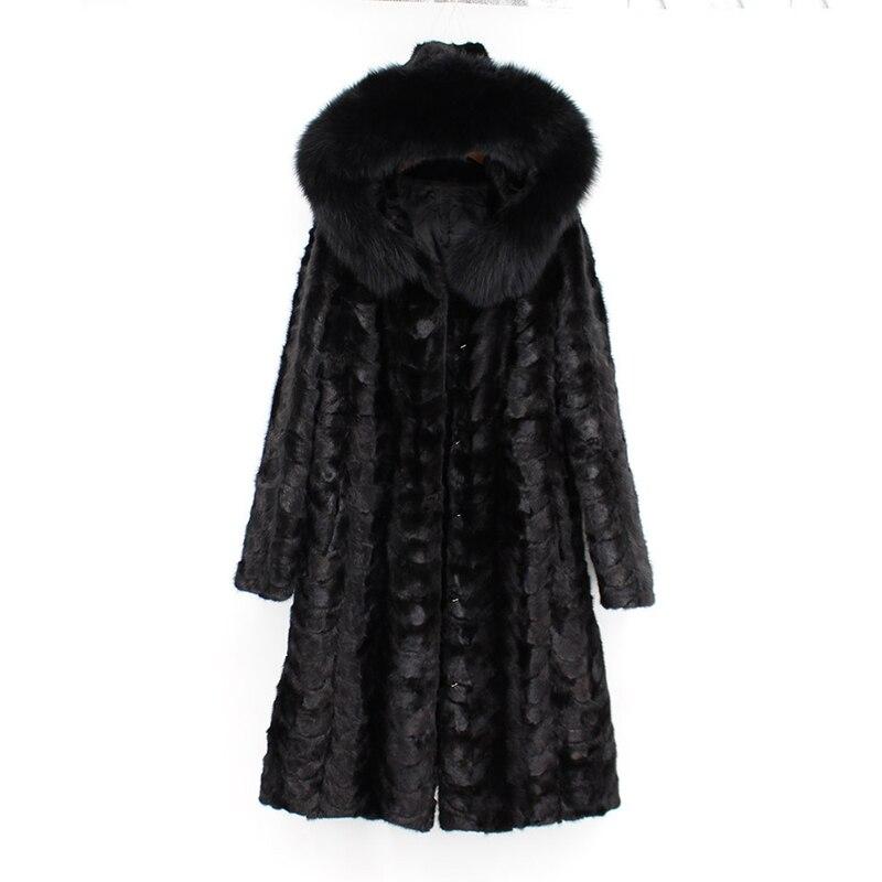 2018 nuove donne di modo 100% genuino visone naturale cappotto di pelliccia con felpa con cappuccio lunga pelliccia di volpe collare manica lunga nero di inverno russia outwear