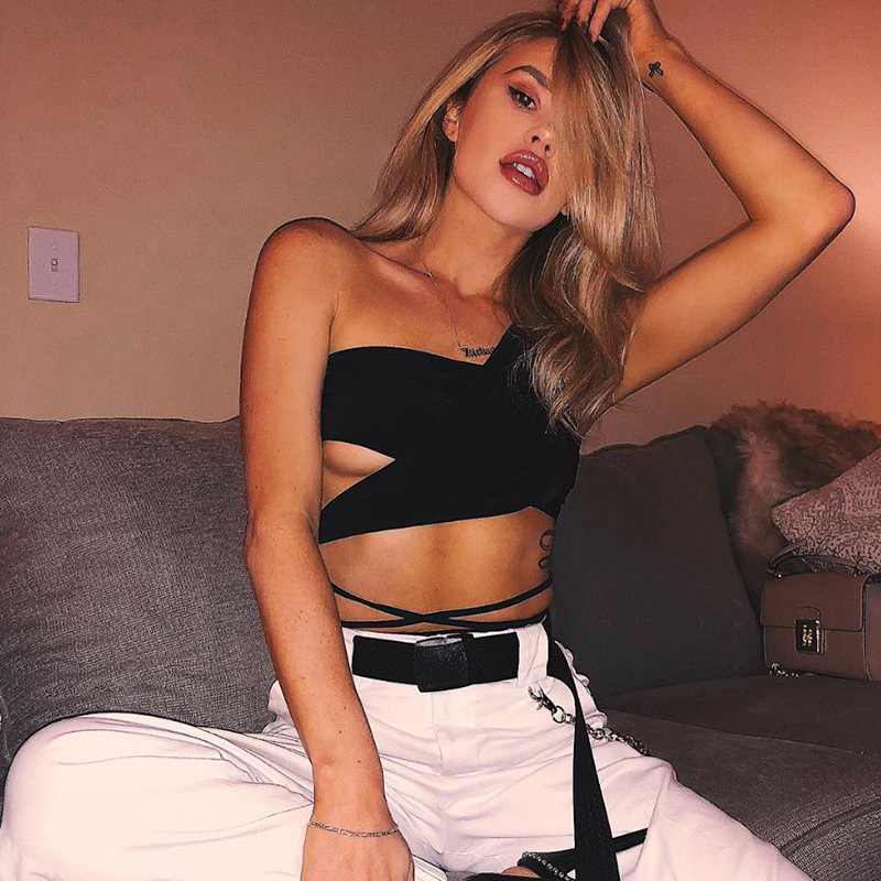 Cuifuli 2018 New Summer Casual Pure Color Female Short Crop Tank Tops Womans Sexy Black Beach Off Shoulder Strapless Tank Tops