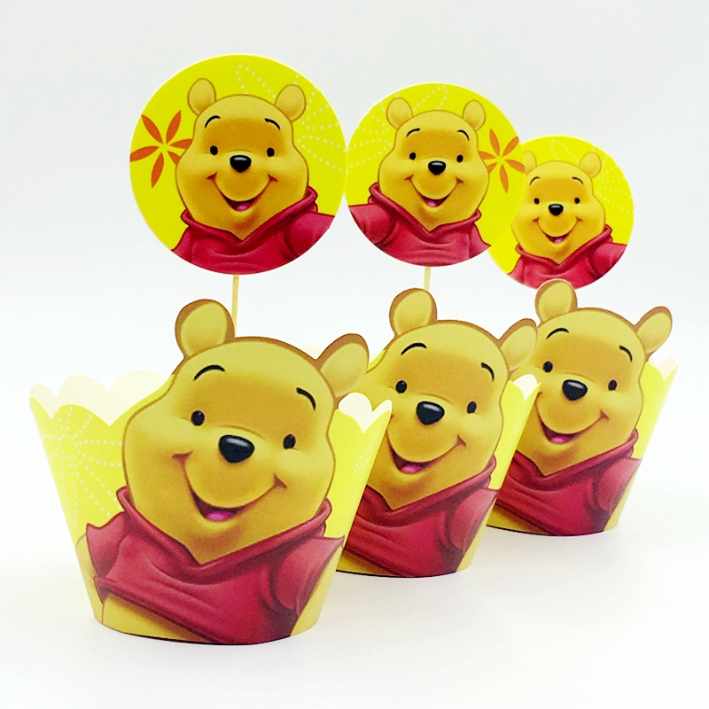 24pcs Lot Cute Winnie Pooh Cupcake Wrappers Toppers
