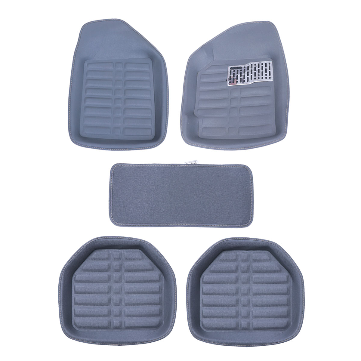 5pcs Car Leather Waterproof Floor Mats Indentation Comp With Pvc Thread Ring Universal Covers