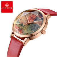 Julius Multicolor Starry Sky Big Dial Waterproof Quartz Watches Woman Casual Leather Student Wristwatches Montre Femme Gifts