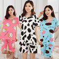 Primavera/verano de Las Mujeres de moda vestido suelto de algodón puro dulce mujer pijamas Animales impresión de la Historieta ropa de Dormir