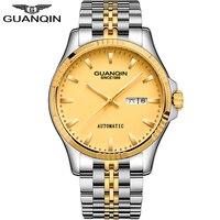 Guanqin relógio masculino negócios automático ouro mecânico relógios masculinos topo da marca de luxo safira à prova dwaterproof água relógio erkek kol saati