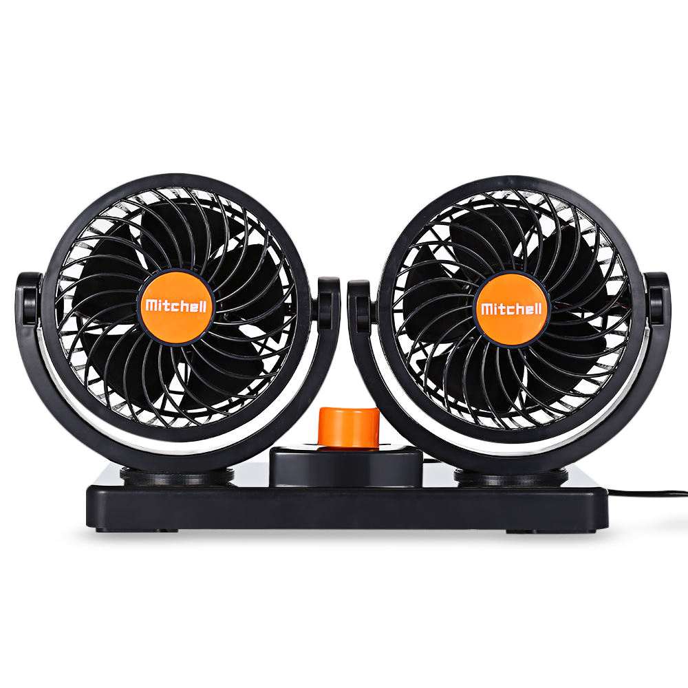24V Mini Electric Car Fan Low Noise Summer Car Air Conditioner Cooling Fan 360 Degree Rotating 2 Gears Adjustable Fans Truck Bus