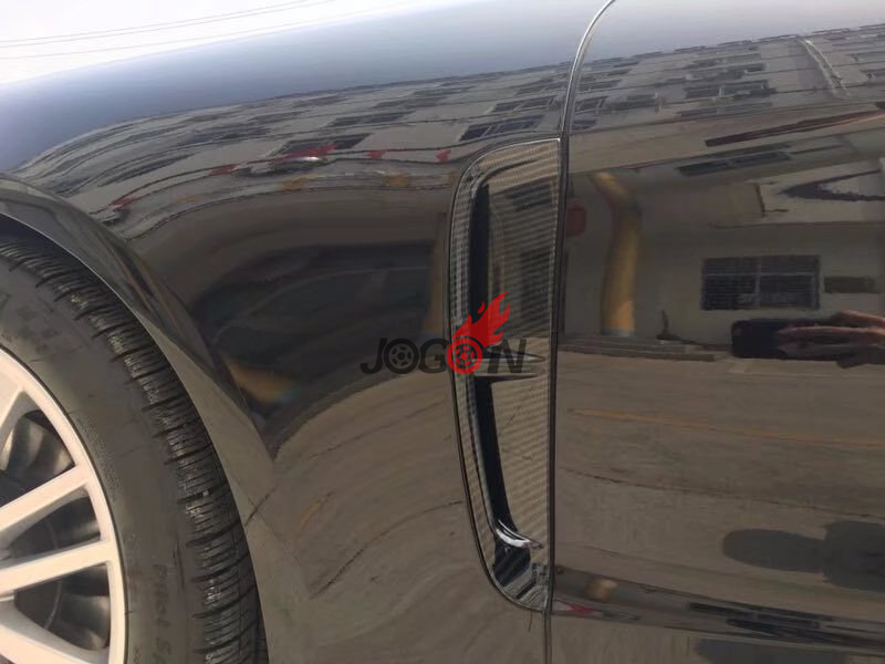 Carbon Fiber Look Side Body Fender Air Vent Trim For Porsche Panamera 2018 Chassis G2