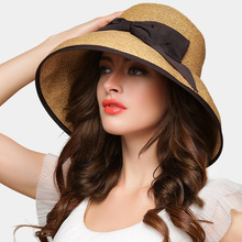 Sosire Noua Bowknot Straw Hat Lady Fashion Sunshade Foldable Hat fete Summer Sunscreen Cap Student Beach Sun Cap B-7674