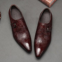 OMDE ручной работы из натуральной кожи монах обувь Для мужчин модные нарядные туфли с острым носком дышащая двойными бретельками Мужская дел