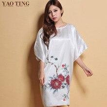 2017 Homewear Sexy Women Summer Silky Nightgown Imitation Silk Nightdress O-neck Red Sleepwear Chinese Style Printing Sleepshirt