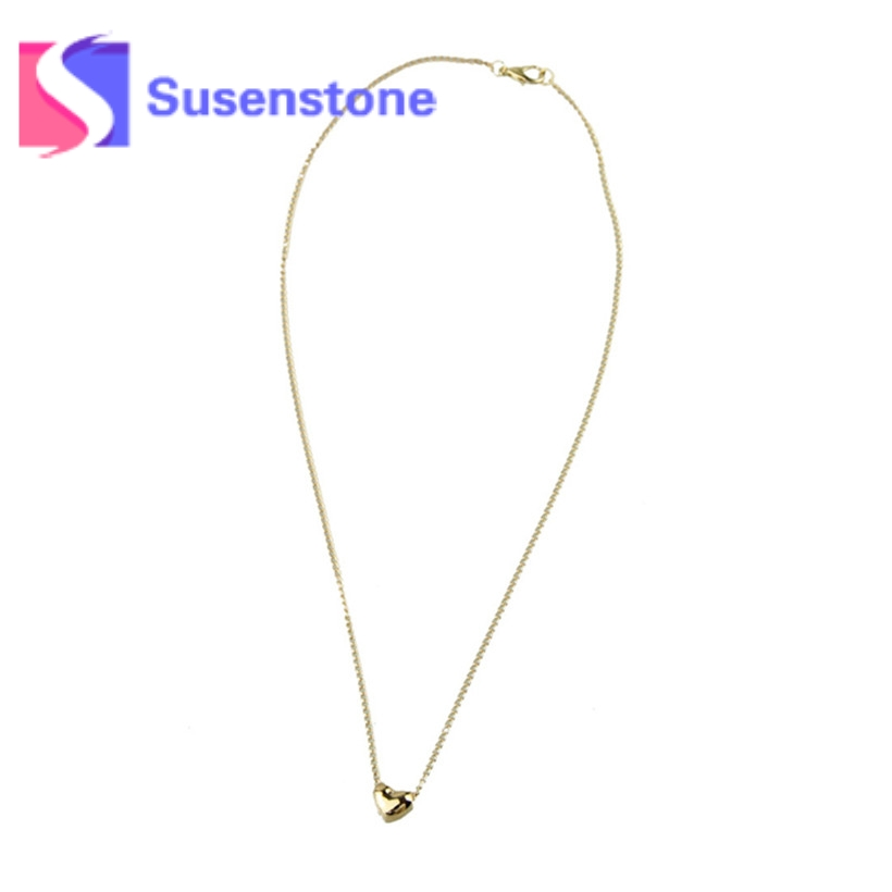 2018 Womens Simple Smooth Heart Shape Rose Gold Pated Femme Pendant Necklace Jewelry Austrian Crystal Wholesale Toopoot