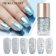 NICOLE DIARY Nail Polish Holographic Silver Oil Based 6 Colors Nail Art Lacquer Manicure DIY Varnish 9ml