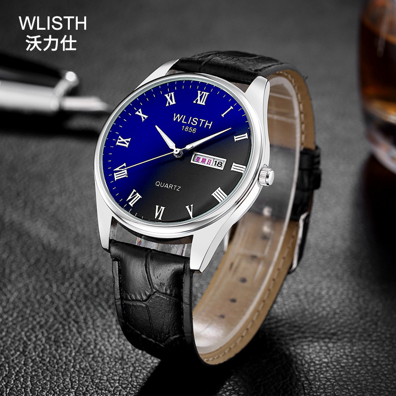 Double Calendar Male Watch Steel Quartz Watches Men Brand Table Blue Glass Couple Fashion Watch Business Clock Relogio Masculino цена и фото