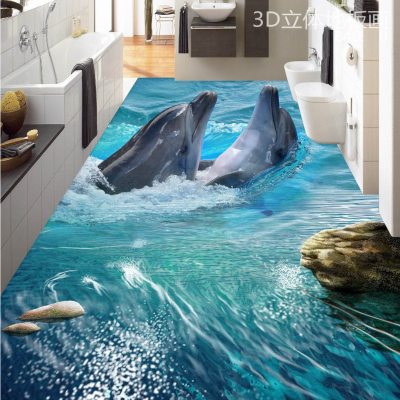 Free Shipping living room hotel floor wallpaper Sea World Dolphin Fun 3D floor wallpaper mural