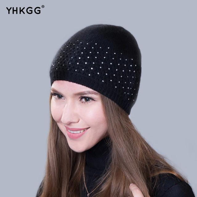 2016 modelos com diamante fino de malha chapéu do inverno senhora nova marca gorros de Empilhamento tampão Feito Malha quente