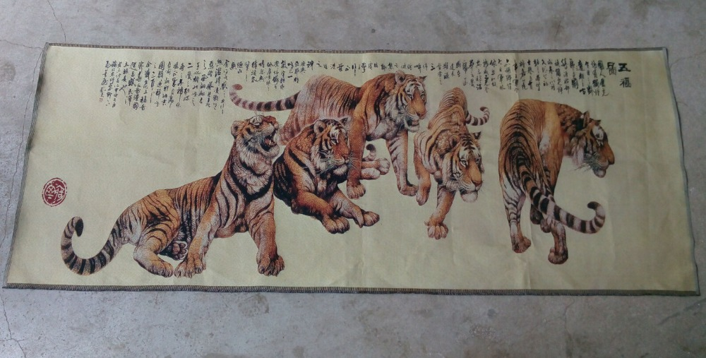 Delicate shipping Chinas Tibet style manual silk scroll of the five tigers