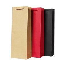 12 шт. 12x8x35 см бумажные мешки для вина, твердые красные черные крафт-бумага, горячее тиснение, логотип 4C, посылка, Оливер, масло, бутылка для шампанского