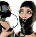 2017 novo Sexo produtos do sexo Lingerie Sexy mulheres negras Latex capuzes Máscara Zentai Com Parte Traseira do Zipper Uniforme Inflável Fetiche mordaça capô