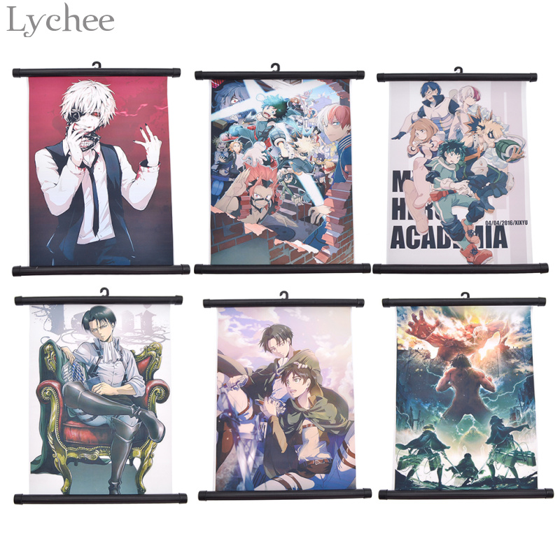 Lychee 1pc My Hero Academia Scroll Painting Attack on Titan Wall Hanging Poster Canvas Poster Living Room Home Art Decoration