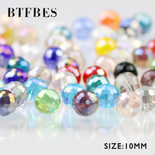 BTFBES 96 Faceted Football Austrian crystal beads 30pcs 10mm Round Loose Beads Jewelry Bracelet Necklace Making DIY Accessories