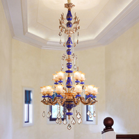 Villa Model Houses Crystal Chandelier Living Room Staircase Long Crystal Lights Hotel Club Hall Three Layers Crystal Chandeliers