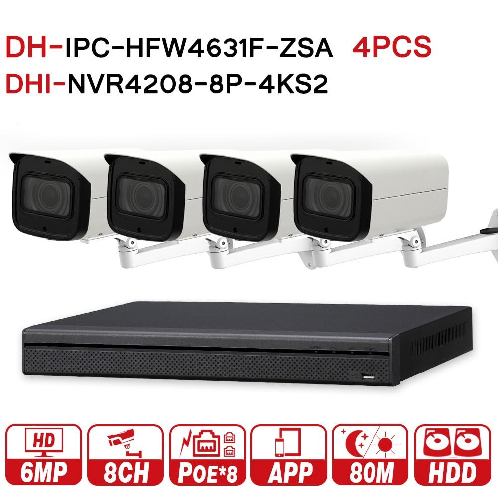 DH 6MP 8 + Sistema De CFTV de Segurança 4 4 Pcs 6MP POE Câmera IP Zoom IPC-HFW4631F-ZSA & 8POE 4 K NVR Segurança Vigilância NVR4208-8P-4KS2
