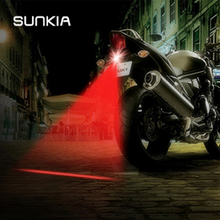 цена на SUNKIA Red Line Anti Collision Rear-end Laser Tail Fog Light Motorcycle Brake Parking Lamp Rearing Warning Light