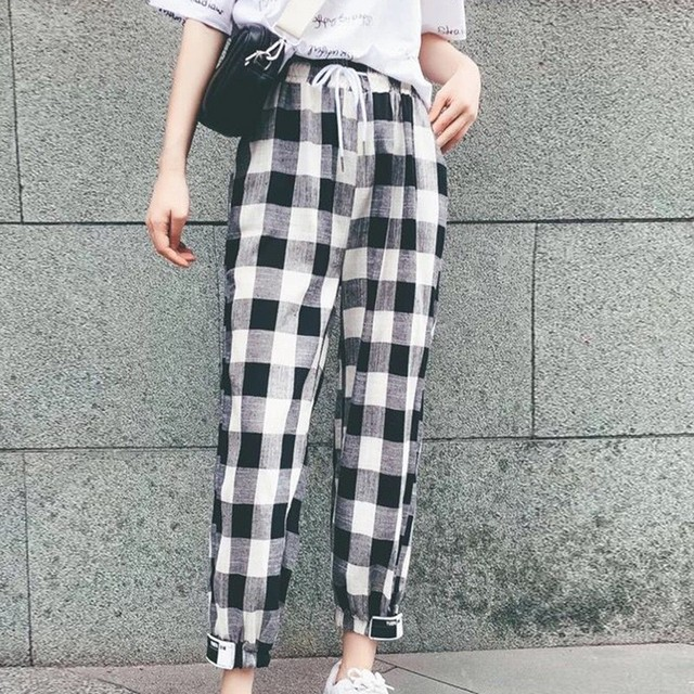 Fashion  Clothing Loose Ankle-Length Women Pants Woman Plaid Harem Pants Drawstring Girl Plus Size Mid Waist Bodycon Trousers 5