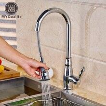 Современная бортике Chrome Весна кухонный кран вытащить носик смеситель Одной ручкой холодной и горячей воды