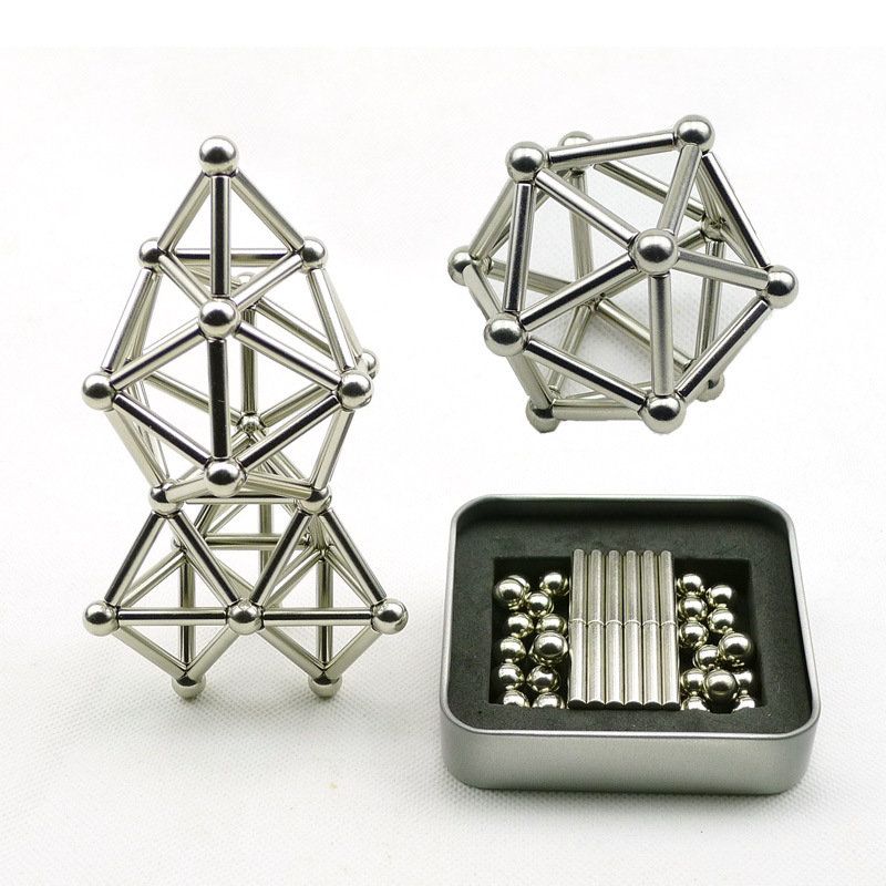 New 36PCS Magnetic Sticks + 27PCS Steel Balls Toy Innovative Buckballs Metal Sticks Magnetic Constructor Toys Building Models
