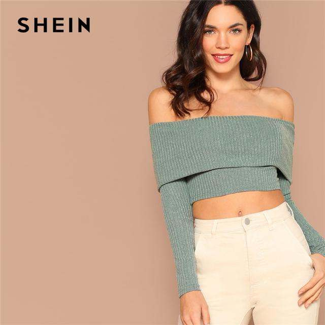 5788811941dd4 SHEIN Green Highstreet Foldover Front Rib Knit Off the Shoulder Slim Fit  Crop Tee Long Sleeve Solid Women Autumn Sexy Tshirt Top