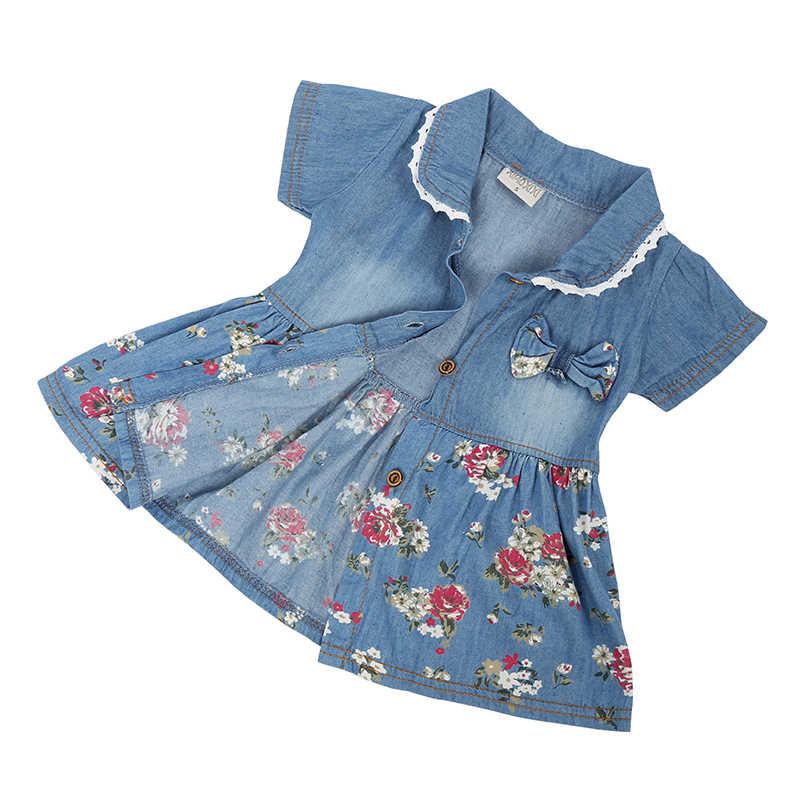 c6229333a11 Летнее джинсовое платье в цветочек для отдыха для девочек симпатичное  джинсовое платье с бантом для маленьких