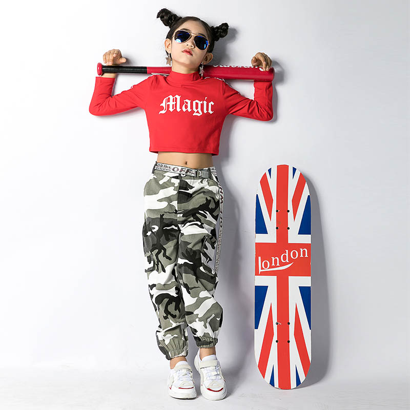 Girls Dance Costumes Red Long Sleeve Top Green Camouflage Pants Kids Hip Hop Clothing Jazz Street Dancing Clothes Wear DN2536