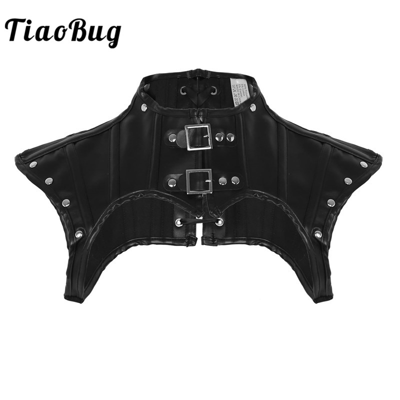 TiaoBug Women Black PU Leather Lace up Chest Harness Shirt with Buckles Sexy Bondage Punk Gothic Rave Costume Crop   Top   Club Wear