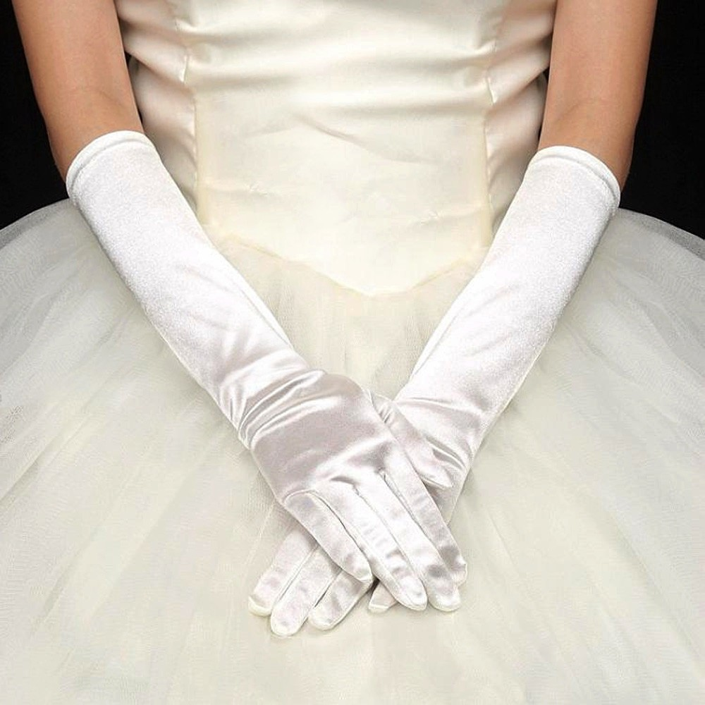 Romantic Women Wedding Long Gloves Opera Bridal Evening Party Prom Gloves Satin Arm Long Gloves for Ladies