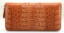 100% подлинная крокодил коричневый кожаный кожи длинные мужчины бумажник крокодиловой кожи кожа кошельки зажим для денег бесплатная доставка