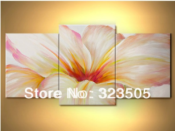3 panel canvas wall art Modern abstract oil painting bedroom pink ...