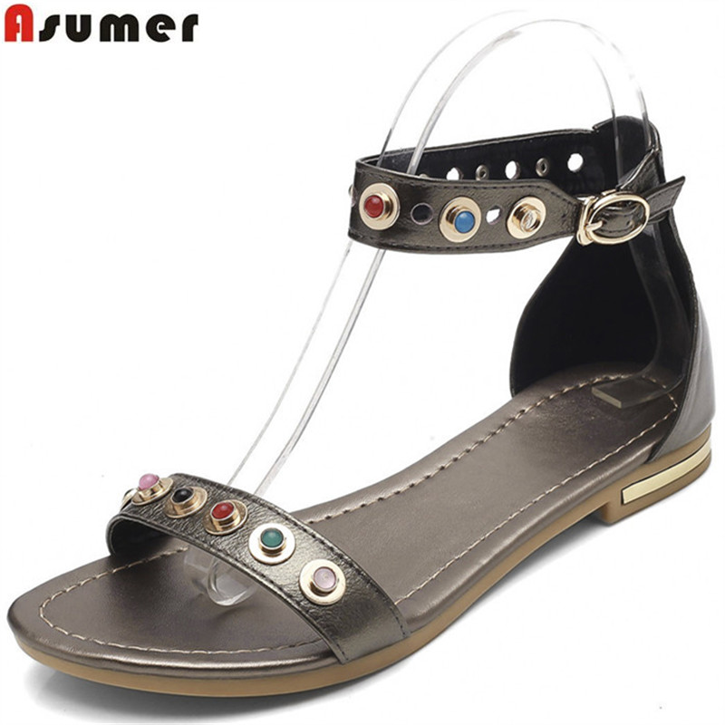 ASUMER black white fashion 2018 summer new shoes woman buckle flat with sandals women genuine leather shoes plus size 32-46 gktinoo genuine leather sandals women flat heel sandals fashion summer shoes woman sandals summer plus size 35 43 free shipping