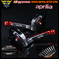 Red+Titanium CNC Adjustable Folding  Motorcycle Brake Clutch Levers For Aprilia TUONO / R 2003 2004 2005 2006 2007 2008 2009